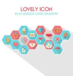 Lovely icon flat design long shadow vector