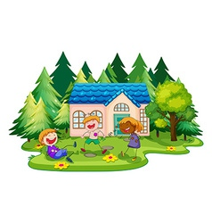 House and children vector