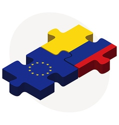European union and colombia flags in puzzle vector