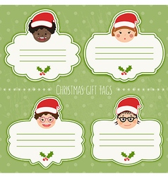 Christmas tags for presents with childrens smiles vector