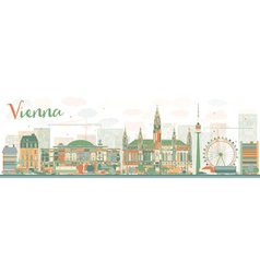Abstract vienna skyline with color landmarks vector