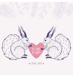 Squirrels and heart vector
