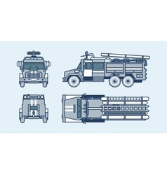 Red fire engine top front side back view line vector
