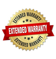 Extended warranty 3d gold badge with red ribbon vector