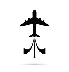 airplane icon in black color on white vector image vector image