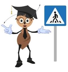Ant teacher explains rules of road pedestrian vector