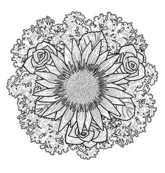 bouquet coloring page vector image