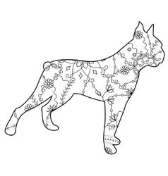 Boxer dog coloring vector