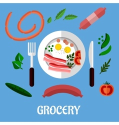 Breakfast with groceries flat design vector