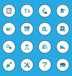 Building colorful icons set collection of glass vector