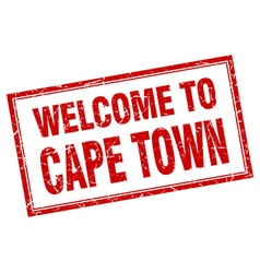 Cape town red square grunge welcome isolated stamp vector