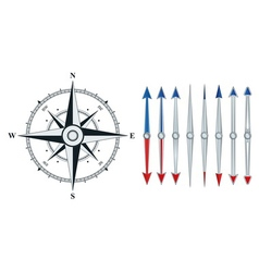 Compass with similar arrows isolated vector