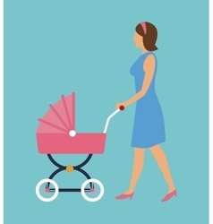 Elegant woman with pink carriage baby walking vector