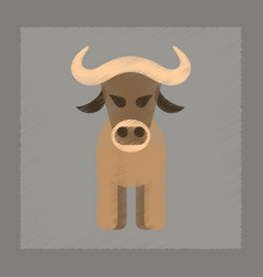 flat shading style icon cartoon bull vector image vector image