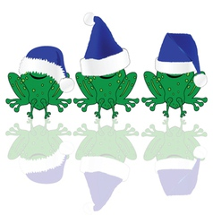 Frog with blue christmas hat vector