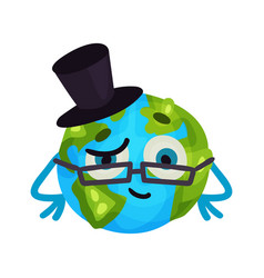 funny cartoon earth planet emoji wearing glasses vector image vector image