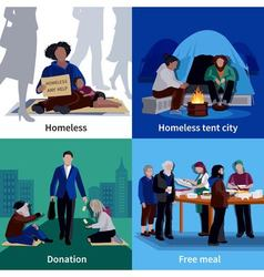 Homeless people 2x2 design concept vector