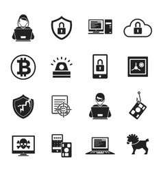 Internet security black white icons set vector