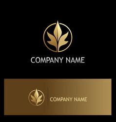 leaf beauty luxury gold logo vector image