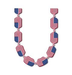 Letter U made of USA flags in form of candies vector image