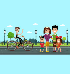 Man in bicycle with family on road in city park vector