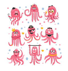 Octopus emoticon icons with funny cute cartoon vector