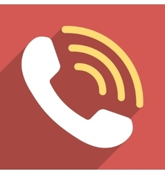Phone call flat longshadow square icon vector