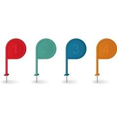 Pin pointer with numbers in different colors vector image vector image