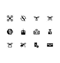 Quadcopter and flying drone icons on white vector