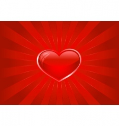 red light burst with heart vector image vector image