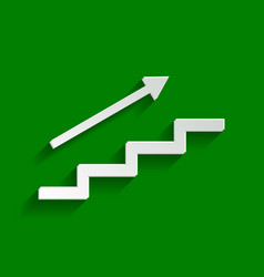Stair with arrow paper whitish icon with vector