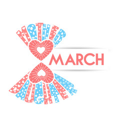 Stylized march 8 on a white background vector