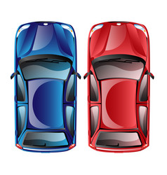 top view on different colorful car vector image vector image
