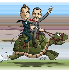 Turtle riding vector image