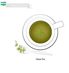 Uzbek green tea popular dink in uzbekistan vector