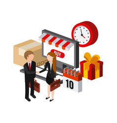 shopping isometric icons design vector image