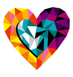 Origami love heart vector