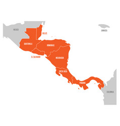 Map of central america region with red highlighted vector