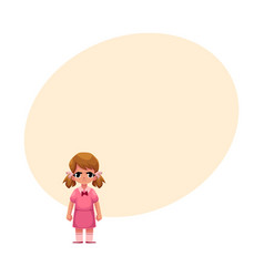 Little girl in pink dress standing with frowned vector
