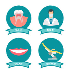 Dental icons with doctor smile teeth and vector