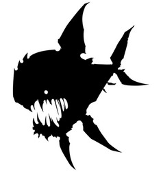 Black graphic angry silhouette monster fish vector