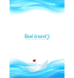 Abstract realistic water with paper boat vector