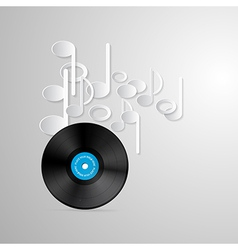 Vinyl Record Discs and Paper Notes on Grey vector image