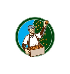 Fruit picker worker picking plum circle vector