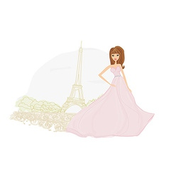Fashion bride in paris background vector
