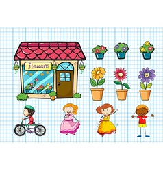 Flower shop and potted plants vector image