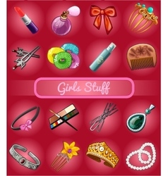 Big set of girl stuff vector