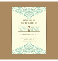 invitation card with vintage blue elem vector image