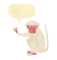 Cartoon evil monkey with speech bubble vector
