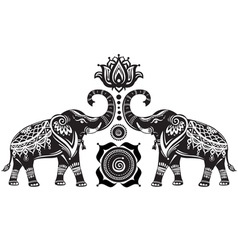 Stylized decorated elephants and lotus flower vector